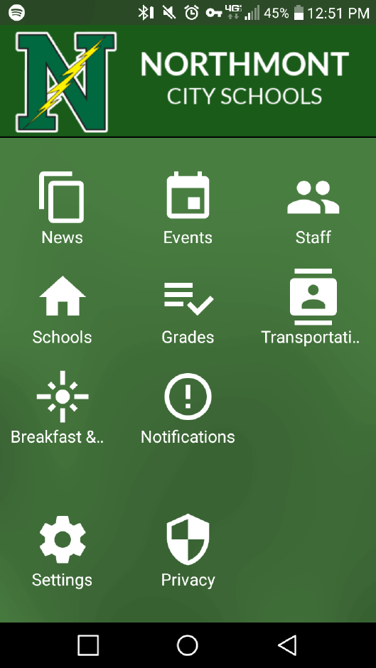 screenshot of Northmont app