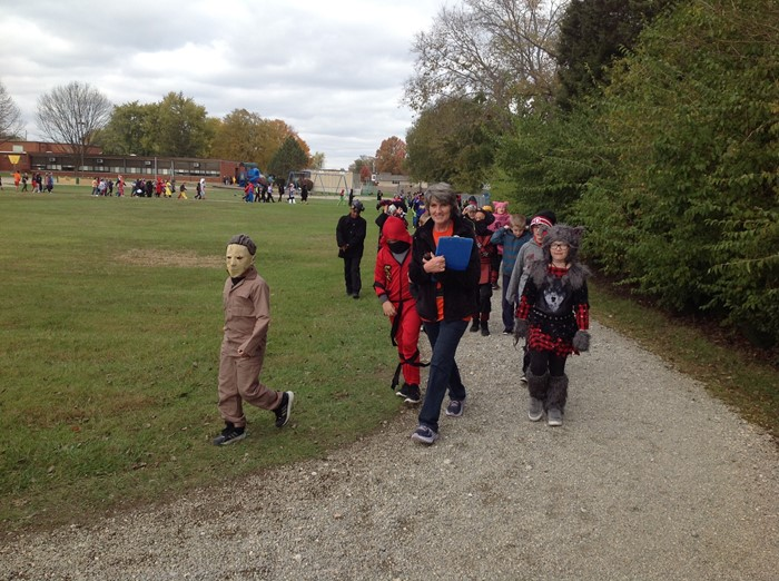 4th Grade Halloween Parade on Track